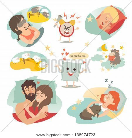 Sleep design concept. Cartoon alarm clock insomnia pillow sleeping boy and girl