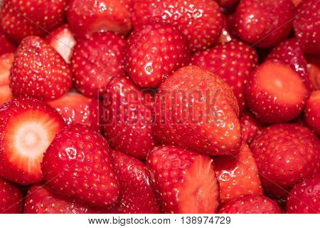 Sliced fresh Strawberries in Germany in early summer