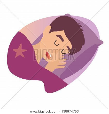 Sleeping cartoon boy at bed. Sweet dreams. Sleeping man icon, snoringman. Vector illustration on white background.Flat sticker