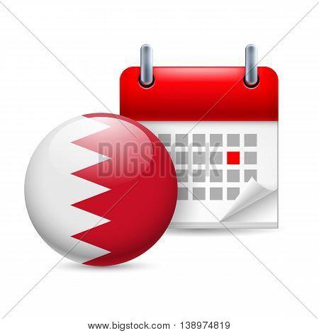 Calendar and round Bahraini flag icon. National holiday in Bahrain