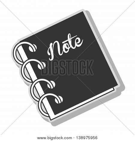 Notebook note diary in black and white colors, isolated flat icon.