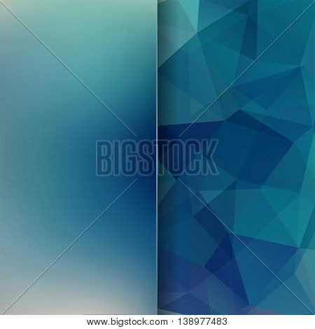 Geometric Pattern, Polygon Triangles Vector Background In Blue Tones. Blur Backdrop With Glass.