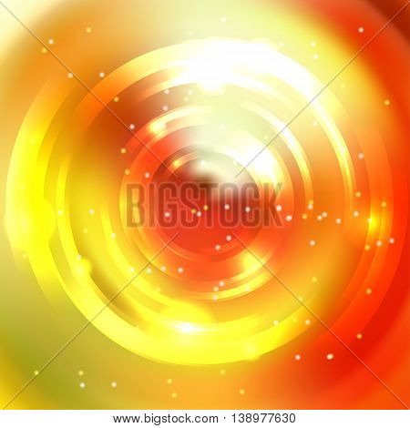 Round Frame. Shining Circle Banner. Vector Design. Glowing Spiral. Yellow, Orange, Red Colors.