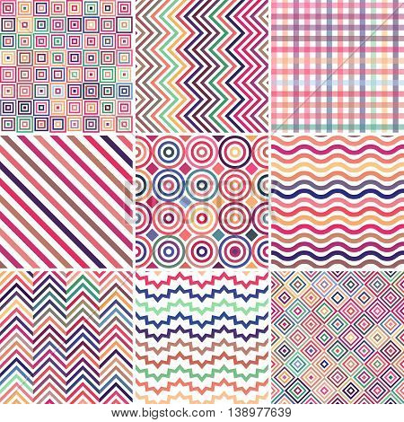 Set Of Abstract Colorful Background, 9 Geometric Pattern, Vector Illustration. Texture Can Be Used F