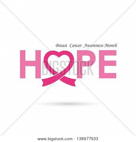 Breast cancer awareness logo design.Breast cancer awareness month icon.Realistic pink ribbon.Pink care logo.Hope word logo elements design.Vector illustration