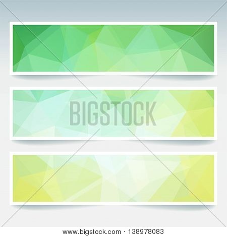 Abstract Banners With Business Design Templates. Set With Polygonal Mosaic Backgrounds. Geometric Tr