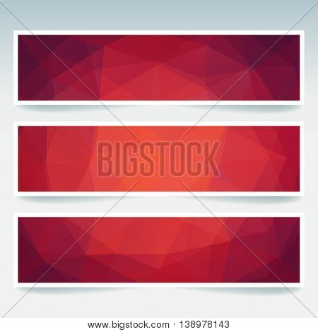 Horizontal Banners Set With Polygonal Triangles. Polygon Background, Vector Illustration. Red, Orang