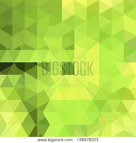 Abstract Background Consisting Of Triangles. Vector Illustration. Green, Yellow Colors.