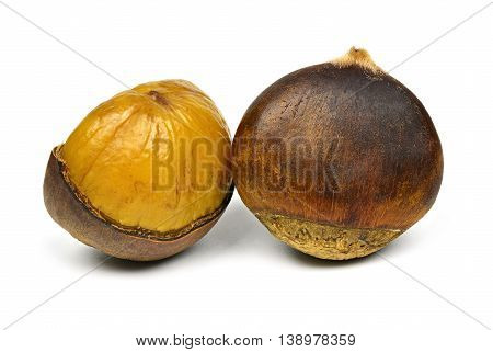 Sweet chestnut and open on a white background