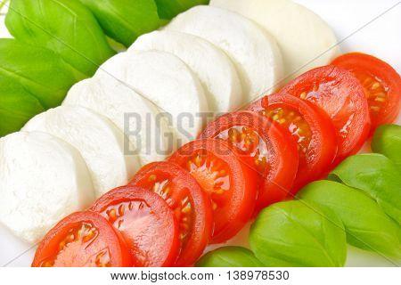 close up of mozzarella, tomatoes and fresh basil