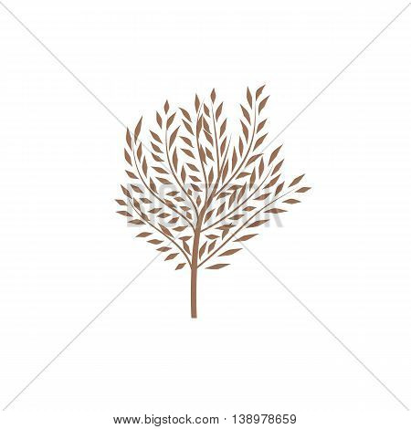 The thin trunk of the tree with leaves. Element forest and park. Elegant design. Vector illustration, symbol and logo