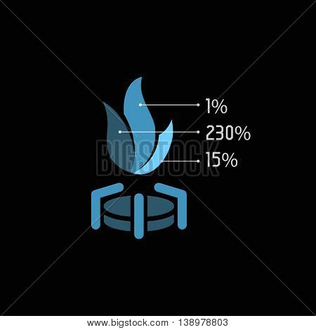 Isolated abstract blue color gas flame vector logo. Unusual hot fire illustration. Fuel logotype. Natural energy icon on the black background. Stove element.