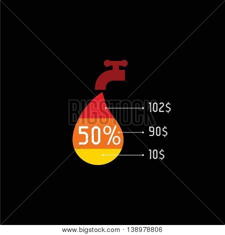 Isolated water tap with red color drop vector logo. Utilities payments logotype on the black background. Public service element icon. Hot flowing liquid illustration.