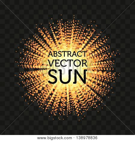Isolated abstract round shape shining sun vector background. Sunbeams backdrop. Solar energy illustration. Sunny wallpaper.
