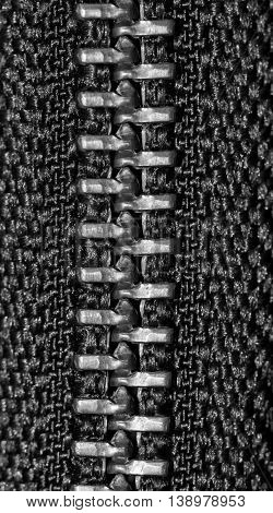 Closeup zipper with black and white tone