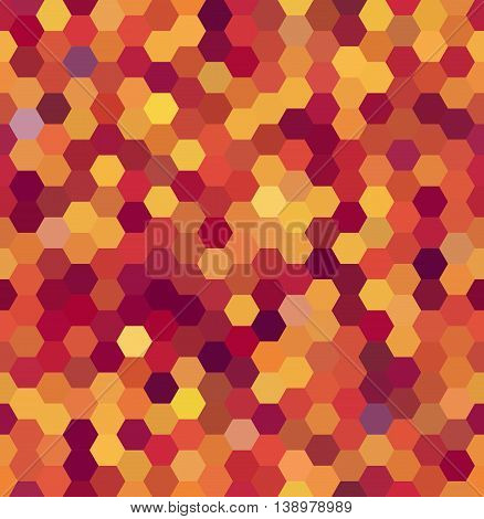 Background Made Of Hexagons. Seamless. Square Composition With Geometric Shapes. Yellow, Orange, Red
