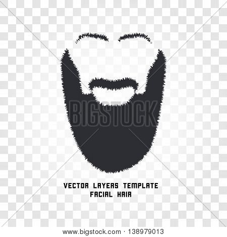 Isolated male face silhouette with mustache and beard vector logo. Men barber shop emblem. Hairdresser logotype. Shaving machine and cosmetics label. Gentlemen beauty salon icon.