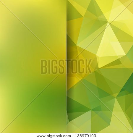 Abstract Geometric Style Green Design Background. Blur Backdrop With Yellow Matt Glass. Vector Illus