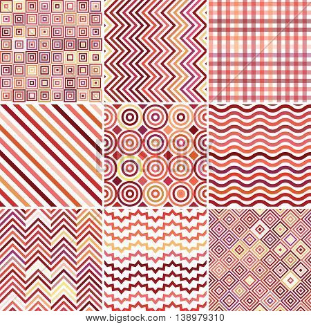 Set Of Seamless Abstract Background, 9 Geometric Pattern, Vector Illustration. Red, Pink, Orange, Ye