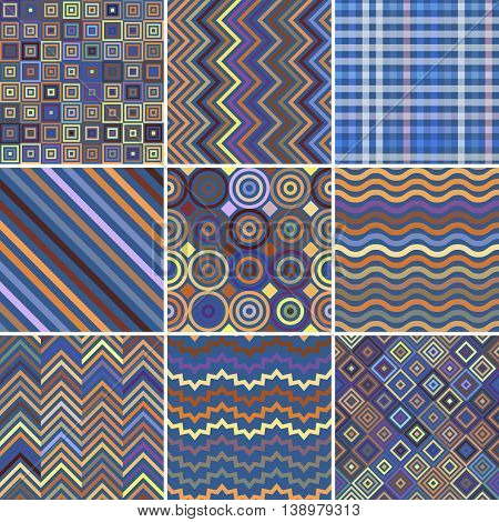 Set Of Seamless Abstract Background, 9 Geometric Pattern, Vector Illustration. Blue, Beige Colors. T
