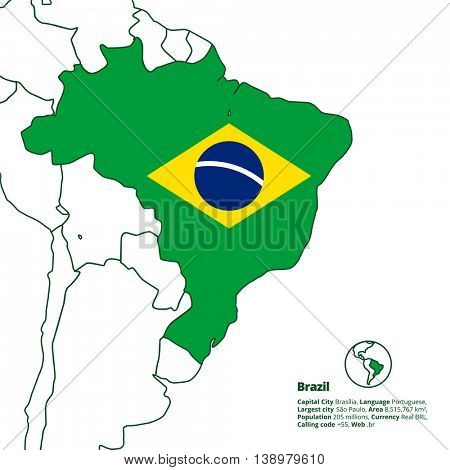 Brazil silhouette with simplified national flag and other latin america countries in outline. World map series.