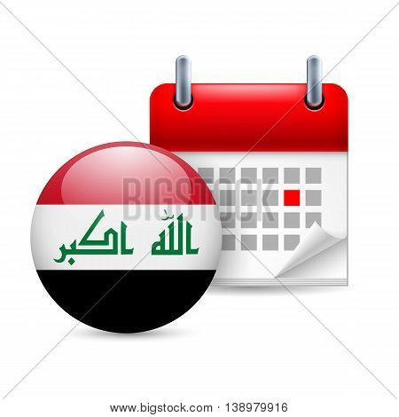 Calendar and round Iraqi flag icon. National holiday in Iraq