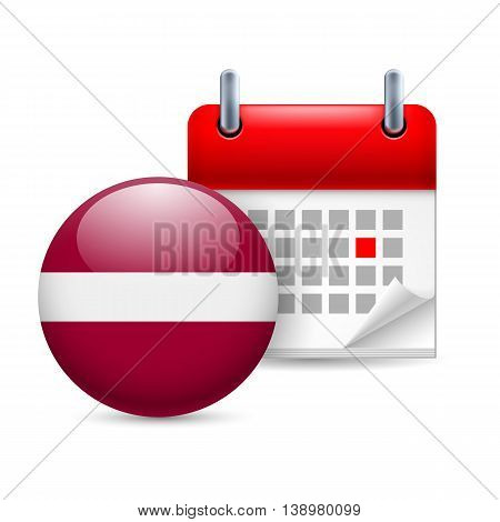Calendar and round Latvian flag icon. National holiday in Latvia