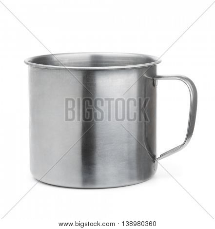 Empty stainless steel cup isolated on white