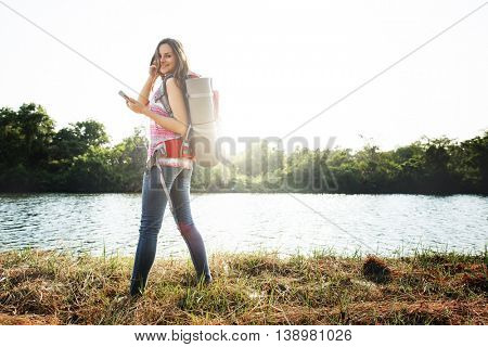 Girl Travel Backpacker Digital Device Concept