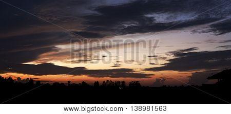 Sunrise of the rainy season. Panoramas in nature.