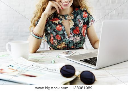 Woman Searching Surfing Internet Laptop Concept