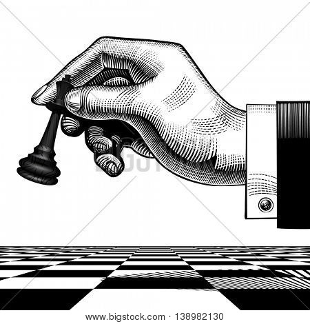 Hand with a black king chess piece. Vintage engraving stylized drawing. Vector illustration