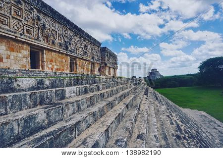 Cloudy skies of the Uxmal Ruins of Yucatan Mexico