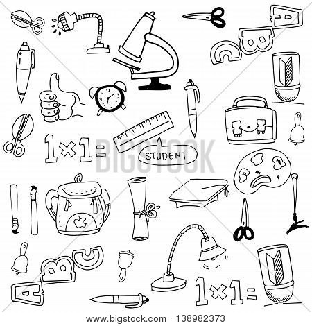 Collection stock school tools in doodle illustraion