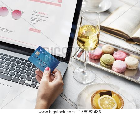 Online Shopping Purchase Credit Champagne Dessert Concept