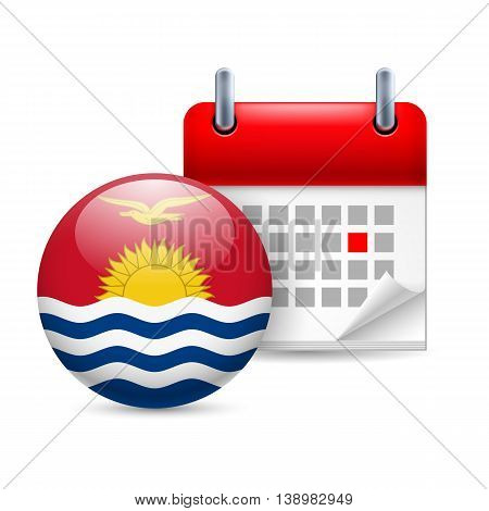 Calendar and round flag icon. National holiday in Kiribati