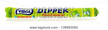 Winneconnie WI - 18 July 2016: Package of vidal dipper chewy caramel on an isolated background.