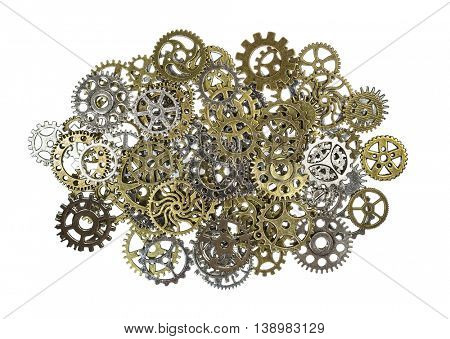 Pile of brass and silver gears macro isolated on white.