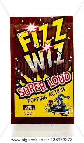 Winneconnie WI - 18 July 2016: Package of Fizz Wiz on an isolated background.