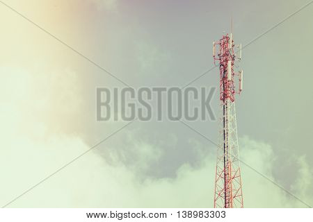 Telecommunication tower with beautiful sky ( Filtered image processed vintage effect. )