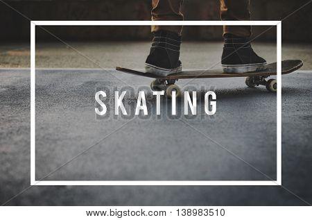 Skater Boy Skating Skateboarding Extreme Sport Concept