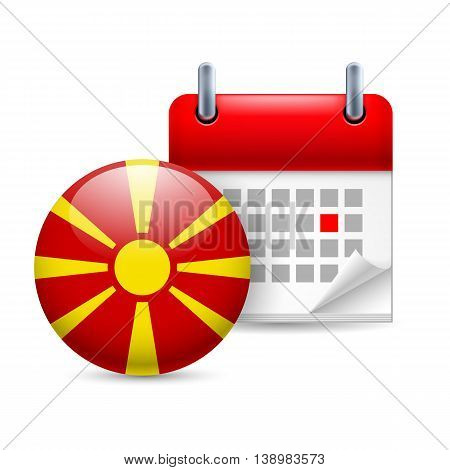 Calendar and round Macedonian flag icon. National holiday in Macedonia