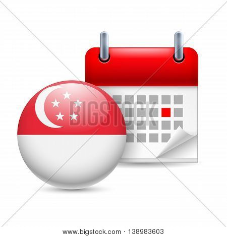 Calendar and round Singaporean flag icon. National holiday in Singapore