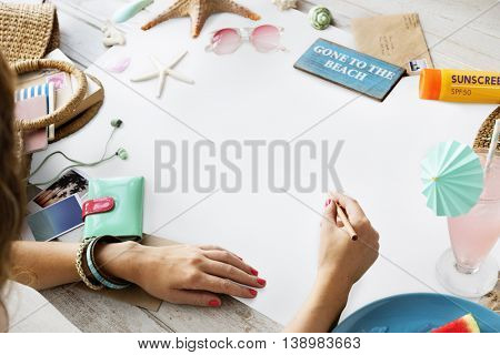 Summer Vacation Woman Lifestyle Journey Concept