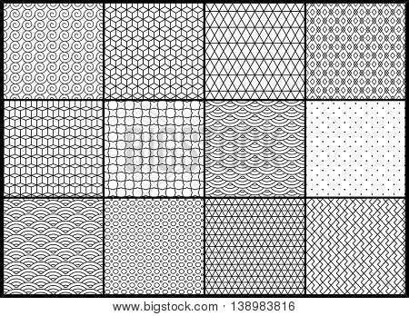 Universal different vector seamless patterns. Endless texture can be used for wallpaper, pattern fills, background,surface textures. Set of monochrome geometric ornaments
