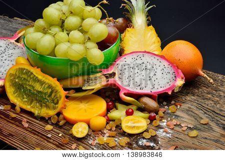 ripen tropical fruits in studio