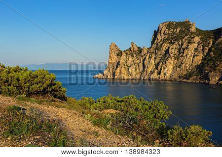 View of Blue bay and mount Karaul-Oba. Mountains in Crimea at the Black sea.