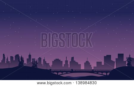 Bridge and city landscape of silhouette at night