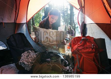 Female Map Camping Forest Concept