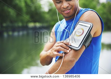 Man Exercise Outdoos Nature Park Health Tracking Concept
